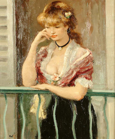 Marcel Dyf (French, 1899-1985) Woman on a Balcony 73 x 60 cm.
