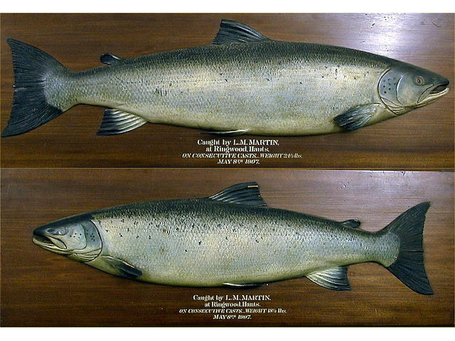 A fine pair of Farlow's carved and painted half block Salmon, (2).