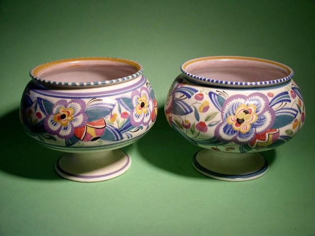 Two Poole Pottery footed bowls,