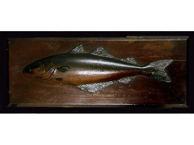 A Farlow's finely carved and painted half block Pollock, Inscribed: Queen Pier Ramsey Sept. 1901 weight 3lbs 14ozs., 68cm x 26cm, slight damage to fin.