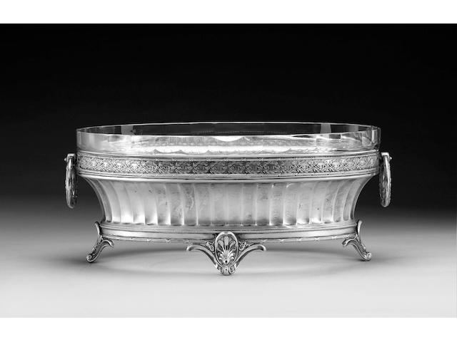 A German large German silver two-handled oval bowl, impressed mark Julius Herz, circa 1900,