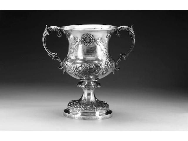 A large Victorian silver two-handled trophy cup, by Daniel & John Wellby, London 1890,