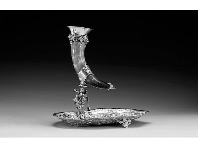 A Continental silver mounted horn vase, impressed 900,