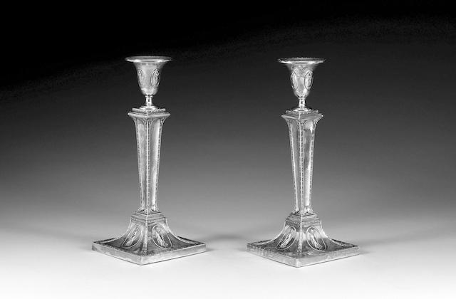 A pair of Victorian silver candlesticks, Sheffield 1892,