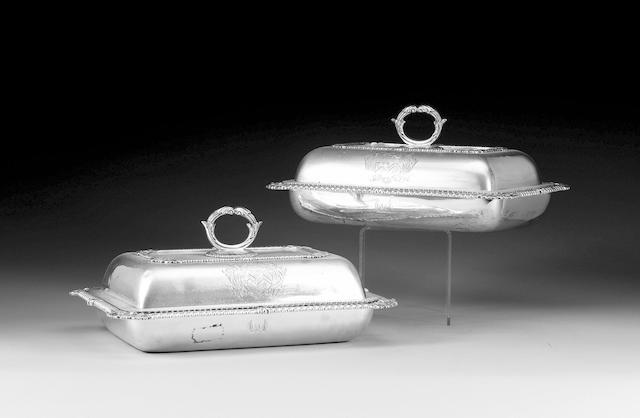 A pair of George III silver entrée dishes and covers, by I. E. Terrey, London 1815,