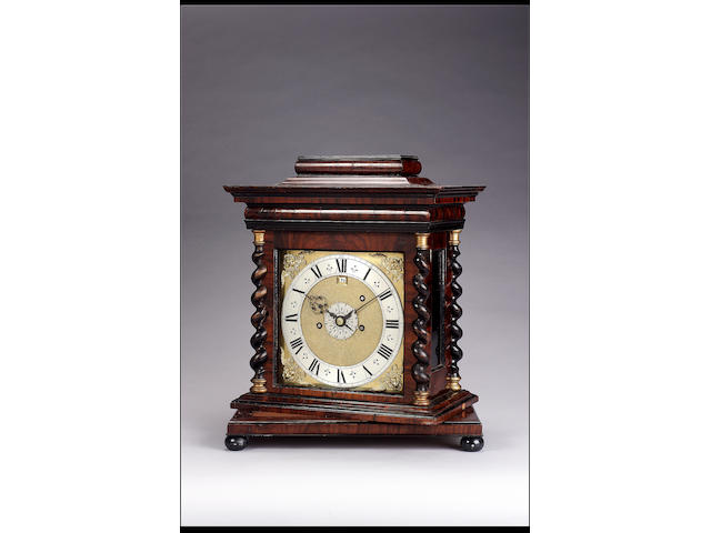 A late 17th century table clock with alarm in a later custom made walnut turntable case Jacobus Markwick, Londini 50cms