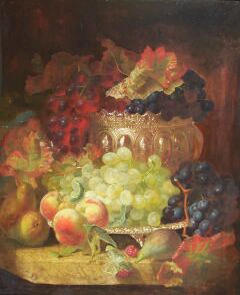 Eloise Harriet Stannard (1828-1915) Still Life of Fruit in a Silver Bowl and a Silver Tray all on a Marble Ledge 61 x 51cm (24 x 20in).