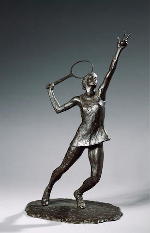 David Wynne R.A. (b.1926) Virginia Wade serving 52.5 cm. (20 5/8 in.) (high)