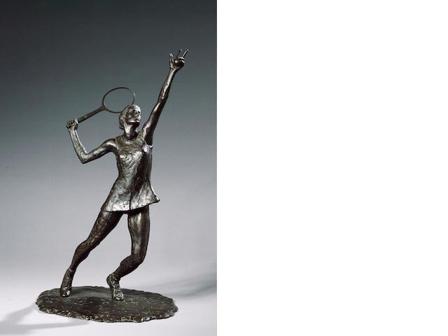 David Wynne R.A. (b.1926) Virginia Wade serving 52.5 cm. (20 5/8 in.) (high)