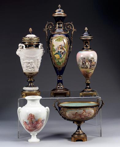 A Sevres unfinished vase, dated 1867,