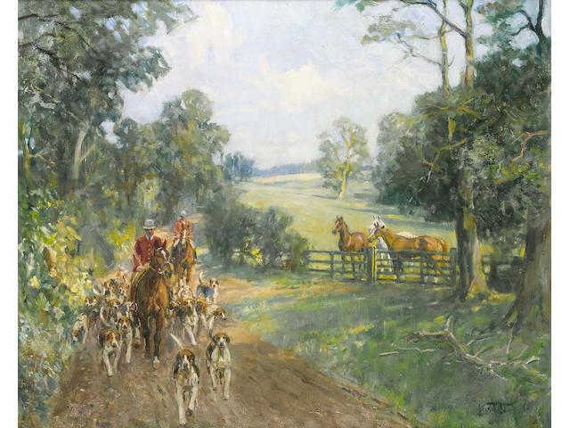 Lionel Dalhousie Robertson Edwards (British, 1878-1966) Off to the meet 50.8 x 60.7cm
