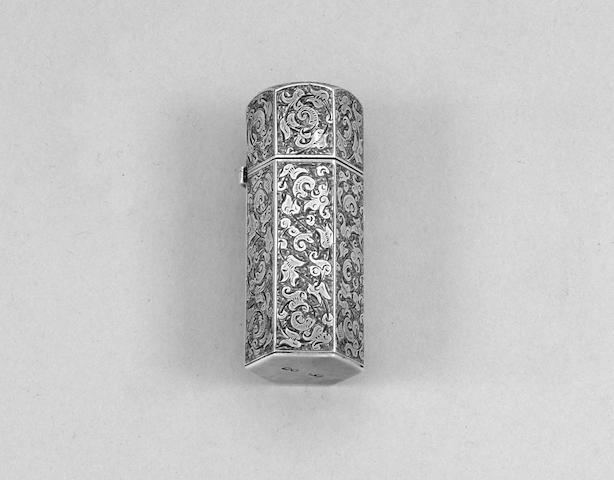 A Victorian silver scent bottle, by Sampson Mordan, London 1884,