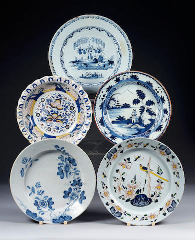Two English Delft Chargers, circa 1750,