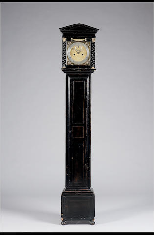 An ebonised longcase clock of small proportions, the movement and dial 17th century, the case later custom made Jeffery Bayley, Londini fecit 1.95m