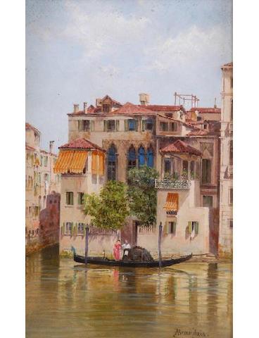Antonietta Brandeis (Czechoslovakian 1849-1920) Gondola before a Venetian Palazzo 24.5 x 15cm. (9 3/4 x 6in), and a companion, a pair.