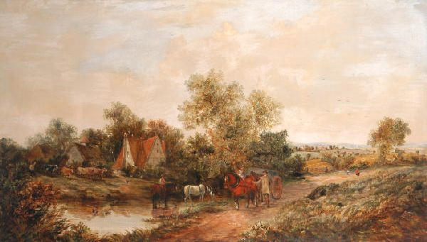 W.G. Meadows (19th Century) Horse and cart on a country lane with farmyard beyond 76 x 127cm (29 3/4