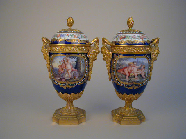 Pair ormolu mounted vases & covers