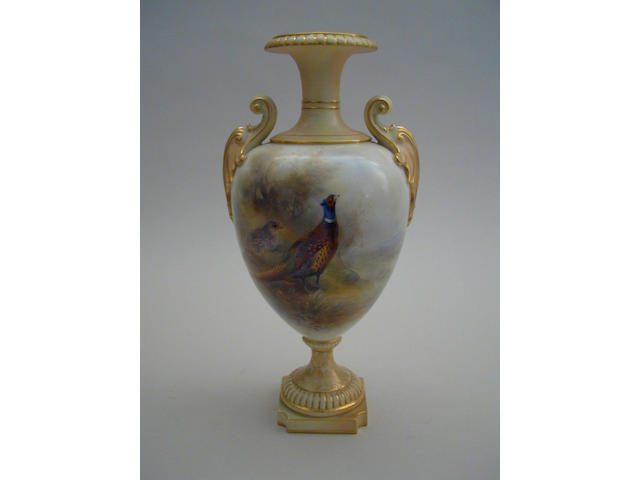 A Royal Worcester vase by James Stinton,  31.5cm high.