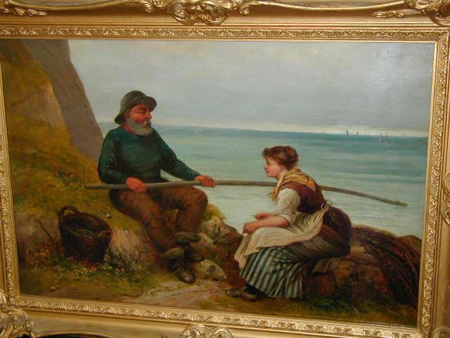 """E. Turner (c.1849) """"Mending the Nets"""" 40.5 x 60.5cm (16 x 23 3/4in)."""