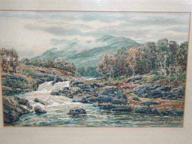 John Hamilton Glass, S.S.A., A.R.S.A. (1820-1885) A mountain torrent near Balmoral Castle, Braemar, Scotland 22 x 35cm (8 1/2 x 13 3/4in).