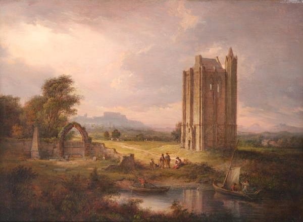 "Alexander Nasmyth (1785-1840) ""Kambuskenneth Tower, with Stirling Castle in the Distance"" 45 x 61cm (17 3/4 x 24in)."
