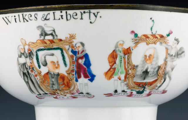 A rare Wilkes and Liberty punch bowl,