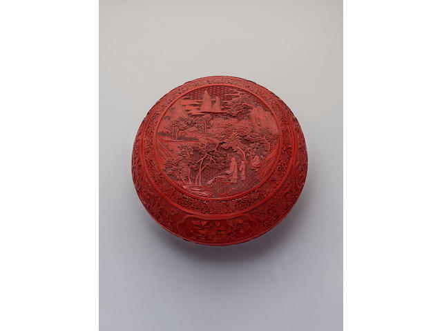 A cinnabar lacquer circular box and cover,