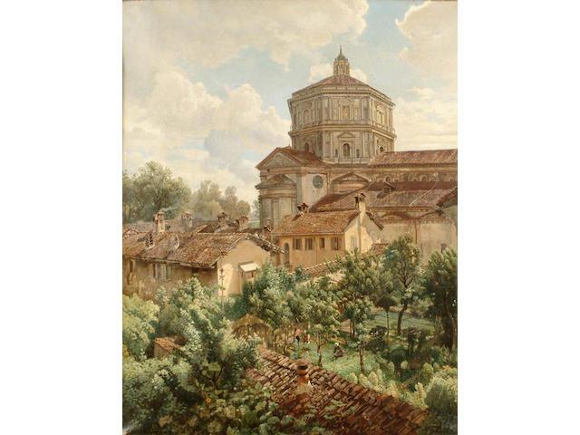 *** Ferrari (Italian 19th Century) Italian roof tops with a church beyond 74.5 x 59cm