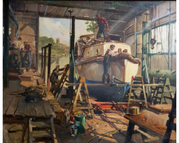 "Terence Cuneo (1907-1996) ""The Boat Builders"" 64 x 77cm (25 1/4 x 30 1/4in)."