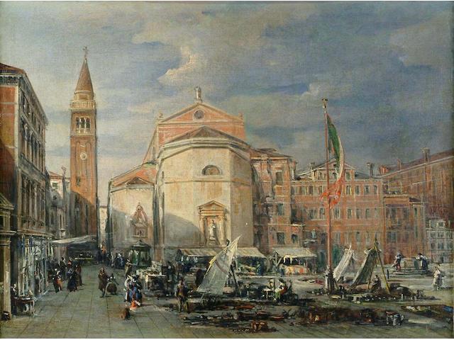 Follower of Carlo Grubacs An Italian market square 33.5 x 43cm