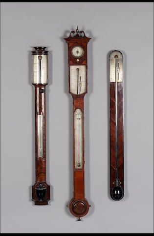An early 19th century mahogany bow fronted stick barometer James Steer, Guildford 97cms