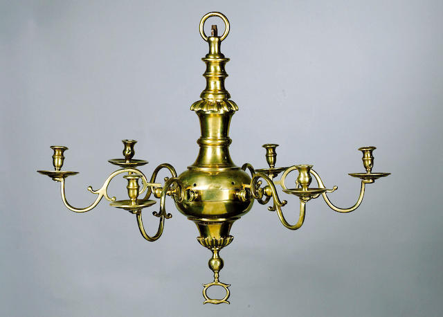 A pair of mid 18th century English brass six light Chandeliers, 58cm. drop