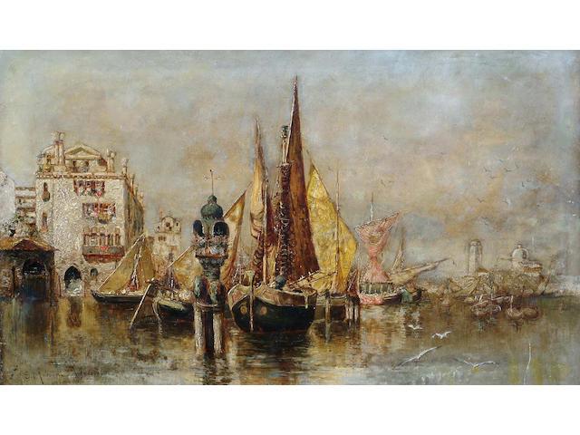 Egisto Massoni  Venetian canal view; & A companion, Marano 29.5 x 50cm a pair of o/p, unframed