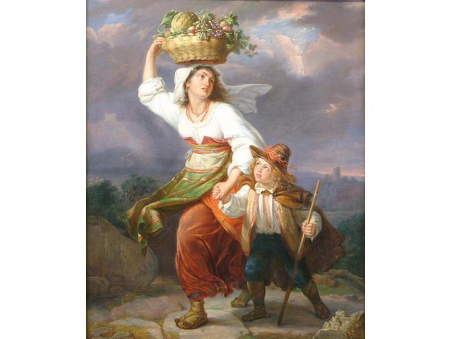 Guiseppe Mazzolini (Italian, 1806-1876) On the way to Market 75 x 62cm
