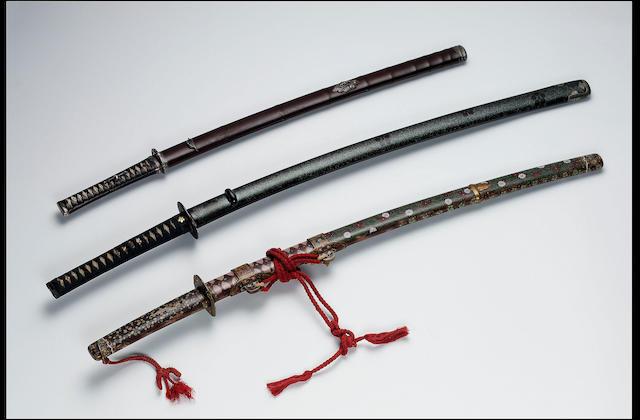 A katana in fine silver-mounted buke-zukuri koshirae,