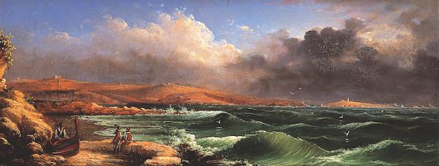 Luigi Maria Galea (1847-1917) Meditarranean COast possibly Malta, oil on baors