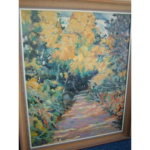 Alexandre Altmann (Russian 1885-1950) A sunlit walk 90 x 73cm (35 1/2 x 28 1/2)