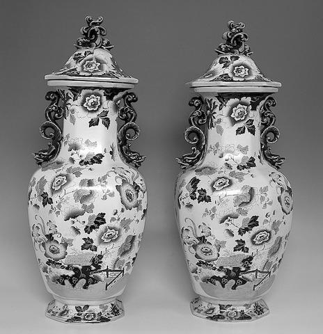 A large pair of Mason's Ironstone vases and covers,