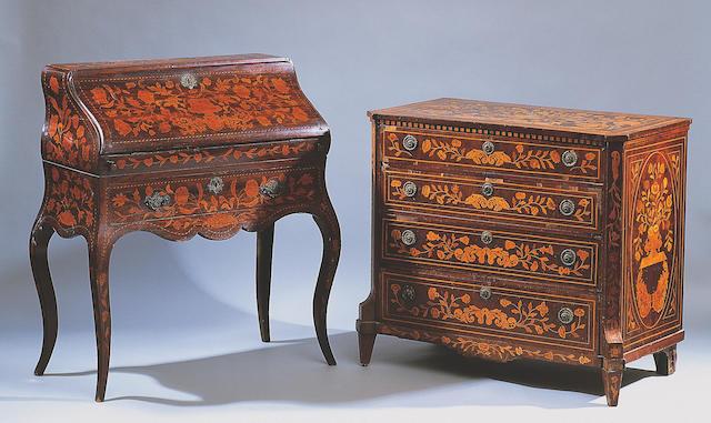 A Dutch 19th Century marquetry lady's bureau,