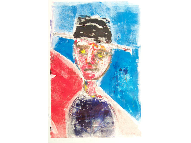 John Kiki (Contemporary) Figure in a Fedora 67.5 x 45cm (26 1/2 x 17 3/4in), together with an original figurework by the same hand.