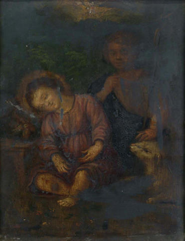 Antwerp School, 17th Century The Infant Christ with a young Saint John the Baptist in a landscape 15.3 x 12.4 cm.