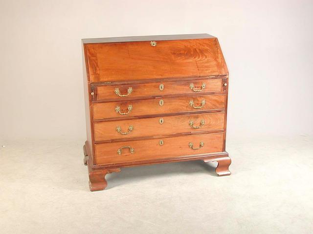 A George III mahogany bureau 106 cm. wide x 53 cm. deep x 108 cm. high
