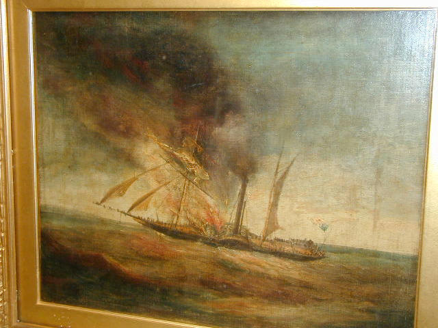 Follower of Joseph Mallord William Turner (1775-1851) A paddle steamer on fire 33 x 41cm (13 x 16in).