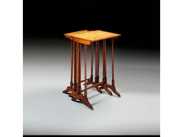 A nest of three Regency satinwood quartetto tables, 45.5cms wide x 37cms deep x 71cms high