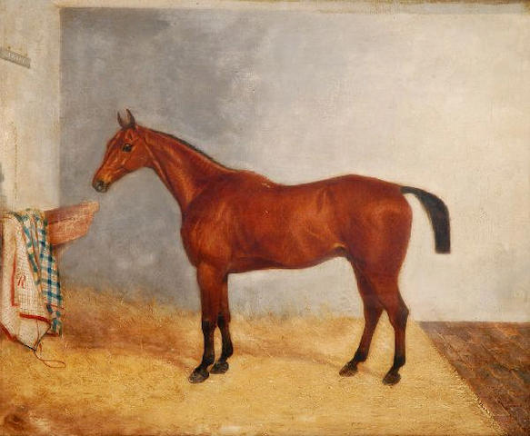 """Follower of Harry Hall (1814-1882) The bay """"Legacy"""" in a stable 55 x 66.5cm (21 1/2 x 26in)."""