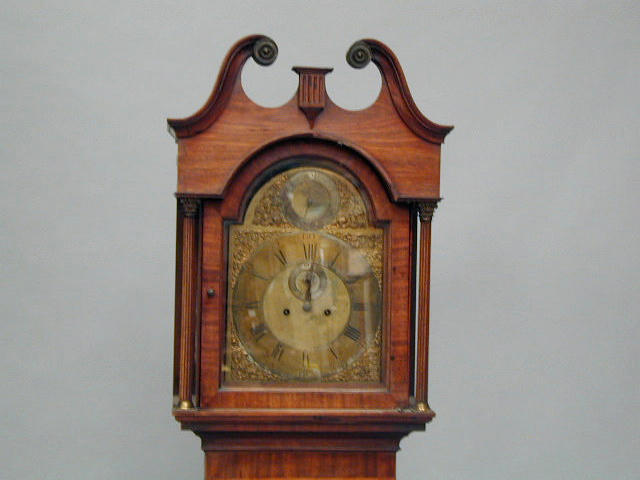 Hindley, York; A George III mahogany longcase clock, 250cm.