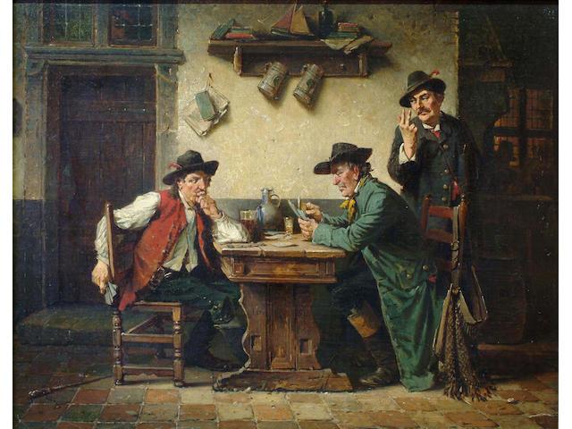 Charles Meer Webb (British, 1830-1895) The card game 40 x 50cm