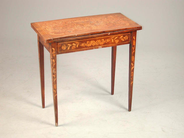 A late 18th century walnut and marquetry inlaid card table, 75 cm. wide x 37 cm. deep x 73 cm. high
