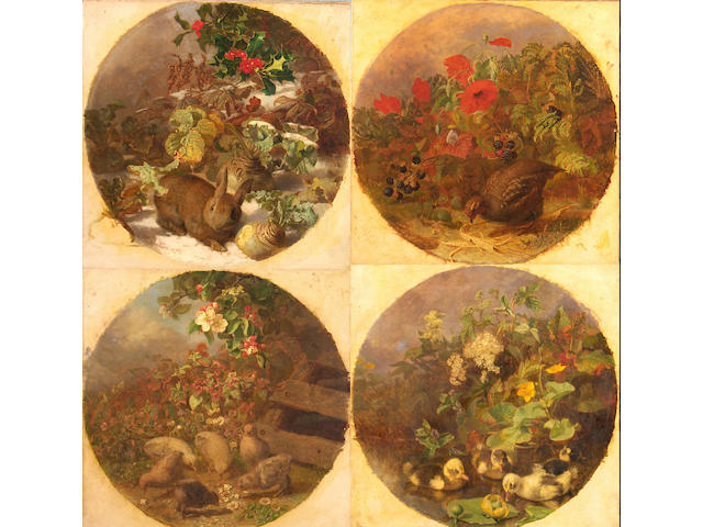 Eloise Harriet Stannard (1828-1915) The Four Seasons: Chicks and Apple Blossom; Ducklings and Meadowsweet; Partridge, Poppies and Blackberries; Rabbit in the Snow Approximately 44cm (17in) diameter.