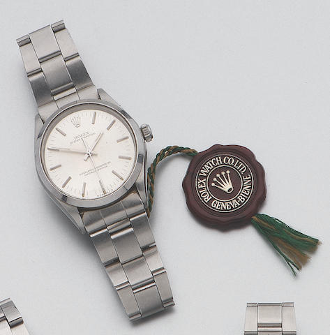 Rolex. A stainless steel automatic centre seconds bracelet watch Oyster Perpetual, Ref: 1002, 1981 37mm